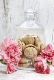 在桃红色康乃馨花中的巴黎人macarons 图库摄影