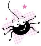 在桃红色星形的逗人喜爱的疯狂的黑色蜘蛛 皇族释放例证