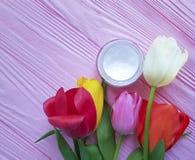 在桃红色木背景的化妆奶油色withbeauty湿气郁金香 库存照片