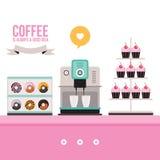 在桃红色桌上的可口甜点心油炸圈饼杯形蛋糕咖啡机器 库存图片