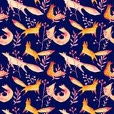 在桃红色森林水彩无缝的样式的逗人喜爱的橙红狐狸在深蓝海军背景 动画片简单的狐狸 皇族释放例证
