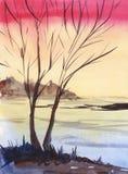 在桃红色橙色梯度背景的明亮的日落冬天风景树剪影 黑暗的森林手拉的水彩例证 向量例证