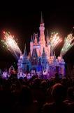在桃红色照明设备的迪斯尼的不可思议的王国城堡烟花 免版税库存图片