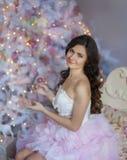 在桃红色的圣诞节画象 免版税库存照片