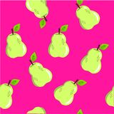在桃红色的无缝的梨样式 免版税图库摄影