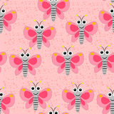 在桃红色的无缝的蝴蝶图案察觉了背景 图库摄影