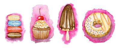 在桃红色的汇集甜点:macarons, Ñ  upcakes、多福饼和冰哥斯达黎加 库存照片