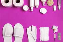 在桃红色的白色化妆瓶容器手套拖鞋卫生学项目垫圈棉塞化装棉手纸片剂兰花花 库存图片