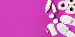 在桃红色的白色化妆瓶容器手套拖鞋卫生学项目垫圈棉塞化装棉手纸片剂兰花花 免版税库存照片