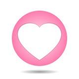 在桃红色的白色心脏 图库摄影