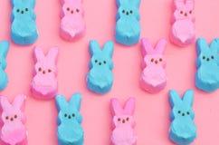 在桃红色的蓝色和桃红色蛋白软糖兔宝宝 免版税库存照片