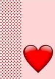 在桃红色的贺卡红色心脏 免版税图库摄影