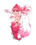 在桃红色的年轻美人鱼 免版税库存图片