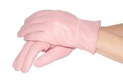在桃红色皮手套的妇女的现有量 免版税库存照片