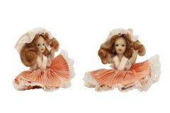 在桃红色礼服的瓷玩偶 库存图片