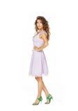 在桃红色礼服的美好的模型 免版税库存照片