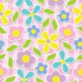 在桃红色箱子背景传染媒介设计的黄色,深蓝,桃红色和紫色花无缝的样式织品的给背景穿衣 免版税库存照片