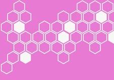 在桃红色背景墙壁样式的白色六角形 免版税库存照片