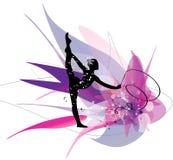 在桃红色背景的体操女孩剪影 免版税图库摄影