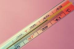 在桃红色背景的医疗水银温度表 免版税库存图片