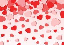 在桃红色背景的心脏爱 库存例证