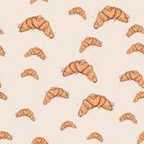 在桃红色背景的新月形面包手拉的剪影 模式无缝的向量 免版税库存照片