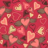在桃红色背景的无缝的乱画心脏 免版税图库摄影