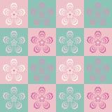在桃红色背景的时髦无缝的花纹花样 樱桃blos 免版税库存图片
