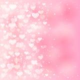 在桃红色背景的模糊的心脏 库存图片