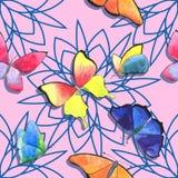 在桃红色背景的水彩蝴蝶和几何坛场春天无缝的样式 免版税库存图片