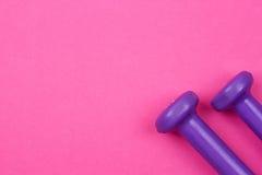 在桃红色背景的紫色哑铃 免版税库存照片