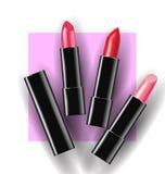 在桃红色背景的红色和桃红色唇膏 模板传染媒介 库存照片