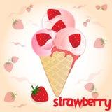在桃红色背景的草莓冰淇凌 免版税库存图片