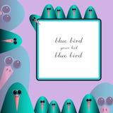 在桃红色背景的蓝色鸟 免版税图库摄影