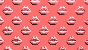 在桃红色背景的许多桃红色亲吻的嘴唇 向量例证