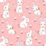 在桃红色背景的逗人喜爱的白色兔宝宝样式 皇族释放例证