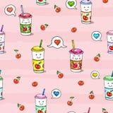 在桃红色背景的Kawaii食物 动画人物素描 无缝的样式Ñ  herry汁液 库存图片