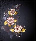 在桃红色金子的三朵玫瑰 向量例证