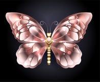 在桃红色金子的蝴蝶 向量例证