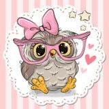 在桃红色镜片的逗人喜爱的猫头鹰 向量例证