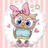 在桃红色镜片的逗人喜爱的猫头鹰 库存例证