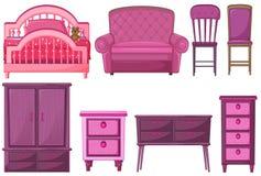 在桃红色颜色的家具 图库摄影