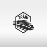 在框架商标的被隔绝的单色现代照相凹板样式火车在白色背景传染媒介例证 库存图片
