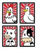 在框架的四个逗人喜爱的动物字符 免版税库存照片