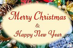 在框架的圣诞节消息。 库存图片
