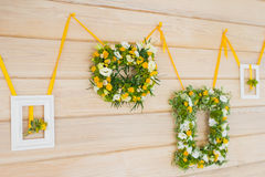 在框架的婚礼花束 免版税库存图片