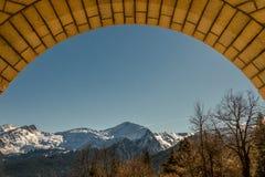 在框架的希腊冬天自然 库存照片