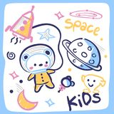 在框架的逗人喜爱的宇航员玩具熊 免版税库存照片