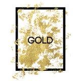 在框架的金飞溅在白色背景 库存图片