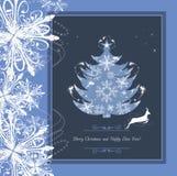 在框架的风格化圣诞树与闪亮金属片和雪花 免版税图库摄影